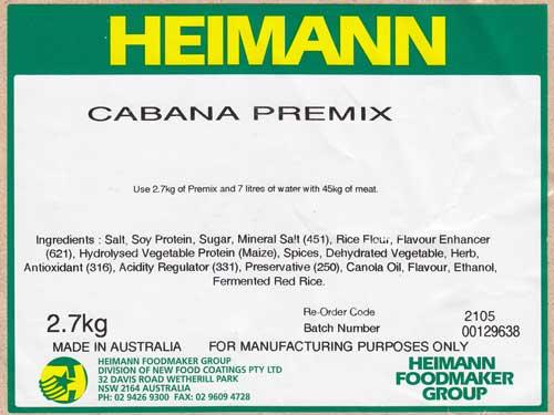 Cabana/ Kransky/Strassbourg Premix 2.7kg – makes approx 54kgs