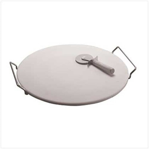 Round Pizza Baking Stone 33cm with Rack and Pizza Cutter